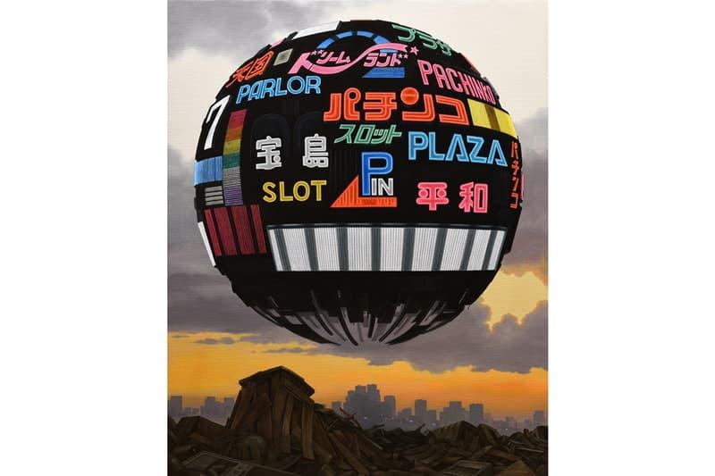 """ATOMIZED"" Group Exhibition GR Gallery Alberto Di Fabio Masakatsu Sashie Harif Guzman Paintings Fictional Spherical World Faces"