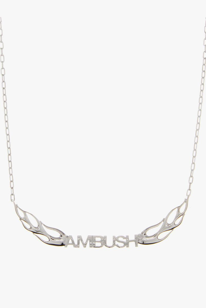 ambush sterling silver flame necklace cat charm ofuda pill charm necklace tape ring armor ring pill charm earring ss20 release