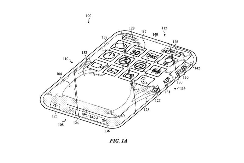 apple patents glass iphone ios device smartphone wraparound flexible bending screen display design
