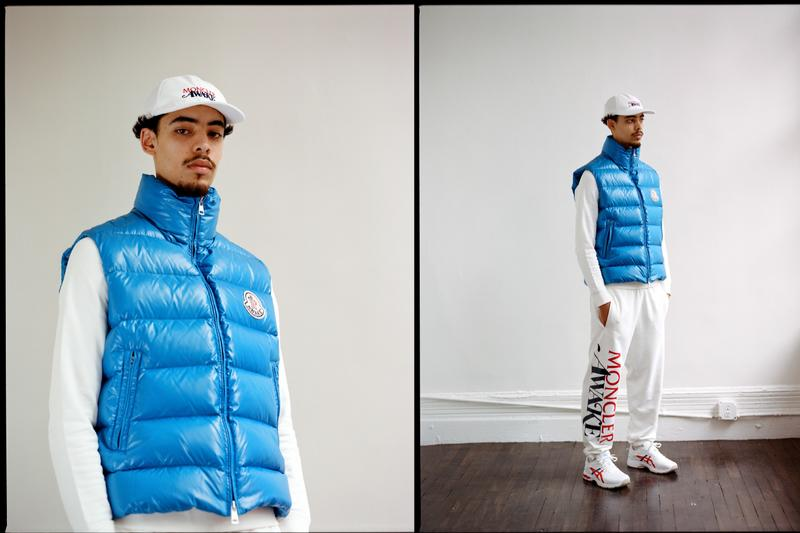 Awake NY x Moncler Capsule Release Info collaboration Parker Gilet goose down puffer vest, hoodie, crewneck, sweatpant, two T-shirts, and a logo lock hat  Alastair McKimm from i-D, Ian Isiah, Jon Gray from Ghetto Gastro, Mario Sorrenti, Maluca Mala, and Richie Shazam. drop date info price