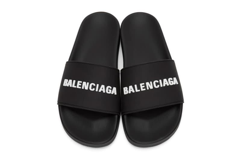 Balenciaga Rubber Logo Pool Slides White Black Release Info Buy Price