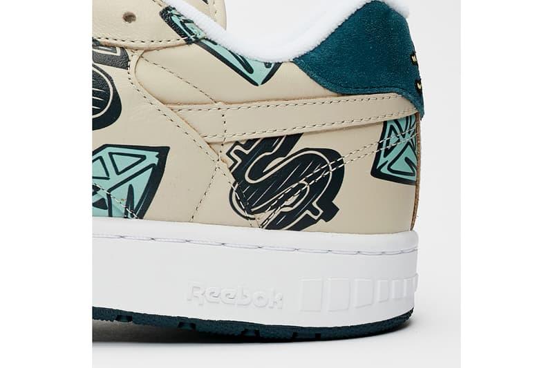 "Billionaire Boys Club ICE CREAM x Reebok BB 4000 Mu ""Tan"" Diamond Covered Graphics Sneaker Release Information Footwear Sneakersnstuff Pharrell Williams Fw7565 Cone Heads Logos Motifs Collaboration"