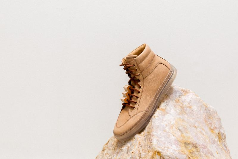 Bradley Duncan Koio Sneaker Collaboration Tan Leather WAVEFORM Sculpture Clear Sole High-Top  sneakers primo
