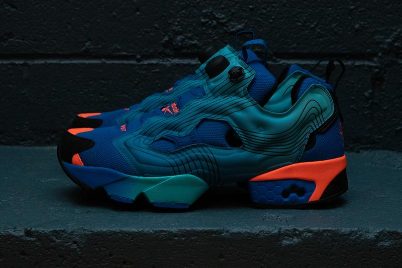 chromat reebok instapump fury detailed look blue red orange pink black yellow gradient ombre topographical collaboration release date info photos price