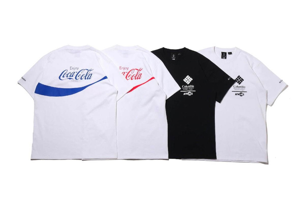 Coca Cola Columbia atmos LAB spring summer 2020 Capsule lookbook menswear collection streetwear beverage outdoor mountaineering trekking tokyo japan japanese jackets t shirts
