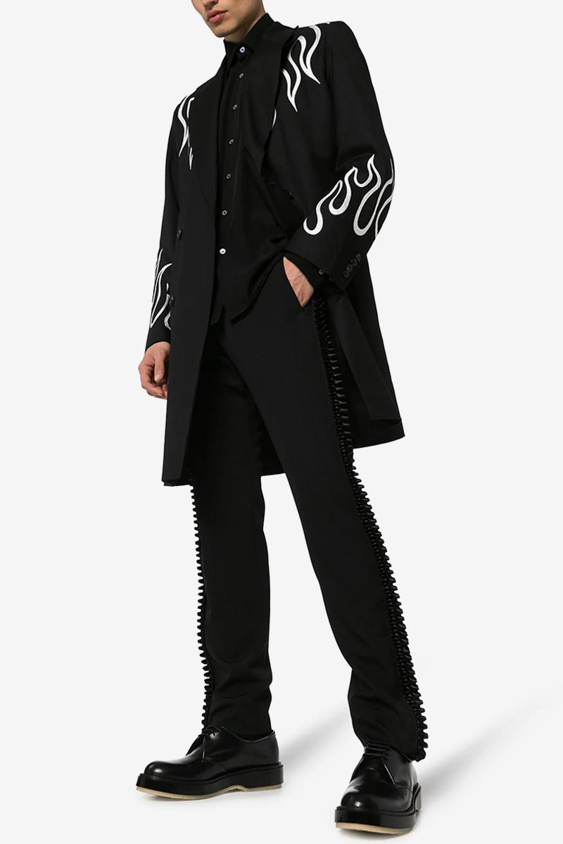 COMME des GARÇONS Pleated Trim Tailored Wool Trousers release info price homme plus buy now browns price details info cdg rei kawakubo menswear pants