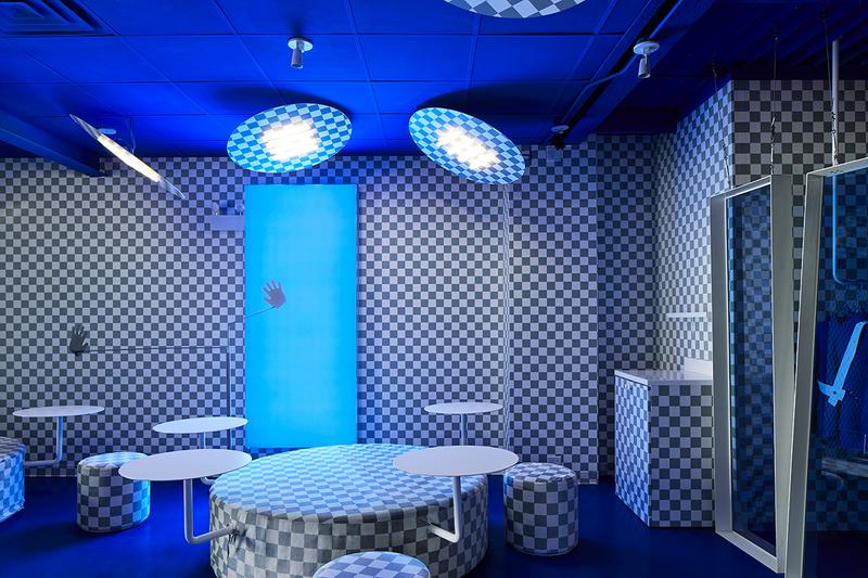 Harry Nuriev Designs Eat Me Milk Me Café Chicago west loop crosby studios pantone classic blue color of the year 2020 bubble tea shopping experience checkerboard photoshop russia vibrant design experimental