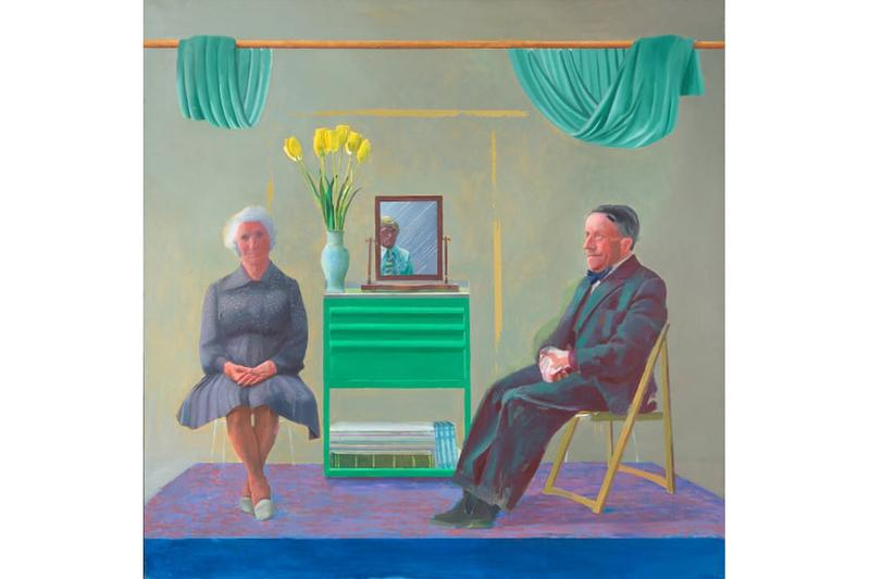 David Hockney 'My Parents and Myself' Painting National Portrait Gallery Mother Father Mirror Reflection Flowers Curtains