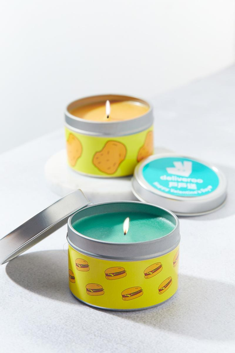 Deliveroo Food Scented Candles for Valentine's Day burgers chicken nuggets noodles giveaway free design homeware decor