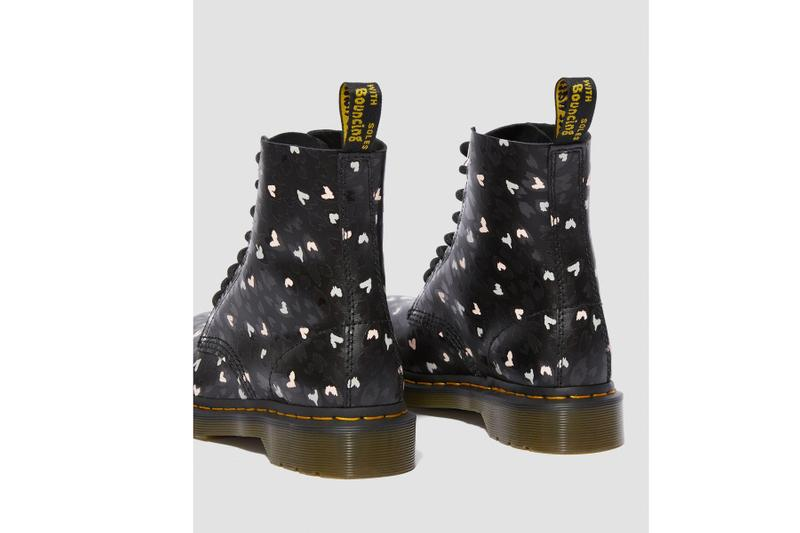 Dr. Martens Valentine's Day Collection 1460 1461 boots hearts release information wild hearts black and white print hearts