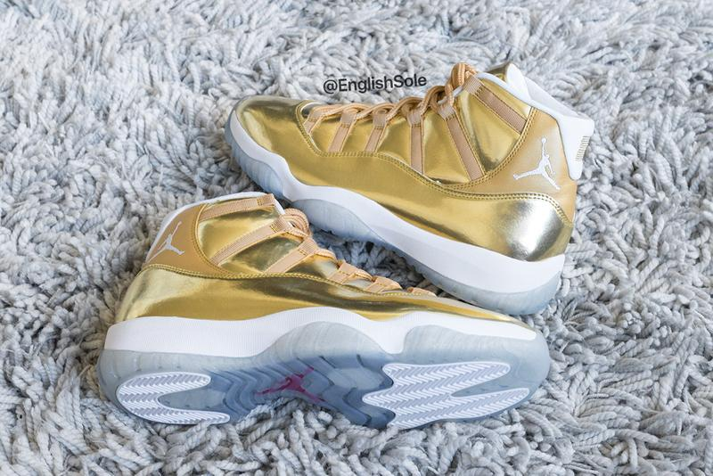 Drake's Unreleased Gold OVO Air Jordan 11 Closer Look Official Golden Flecks Metallic Icy Sole Unit Jumpman 23 Shoetrees Glitter Highly Limited Samples 10 Pairs Shoes Footwear Sneakers