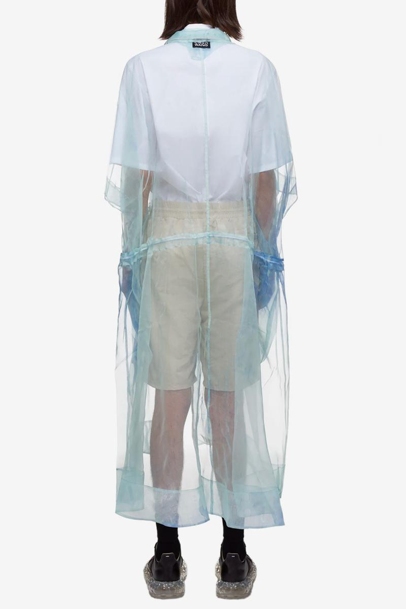 Feng Chen Wang Transparent Coat Blue Silk spring summer 2020 collection delicate jacket see through fabric material textile chinese designer streetwear menswear COA005 BLUE