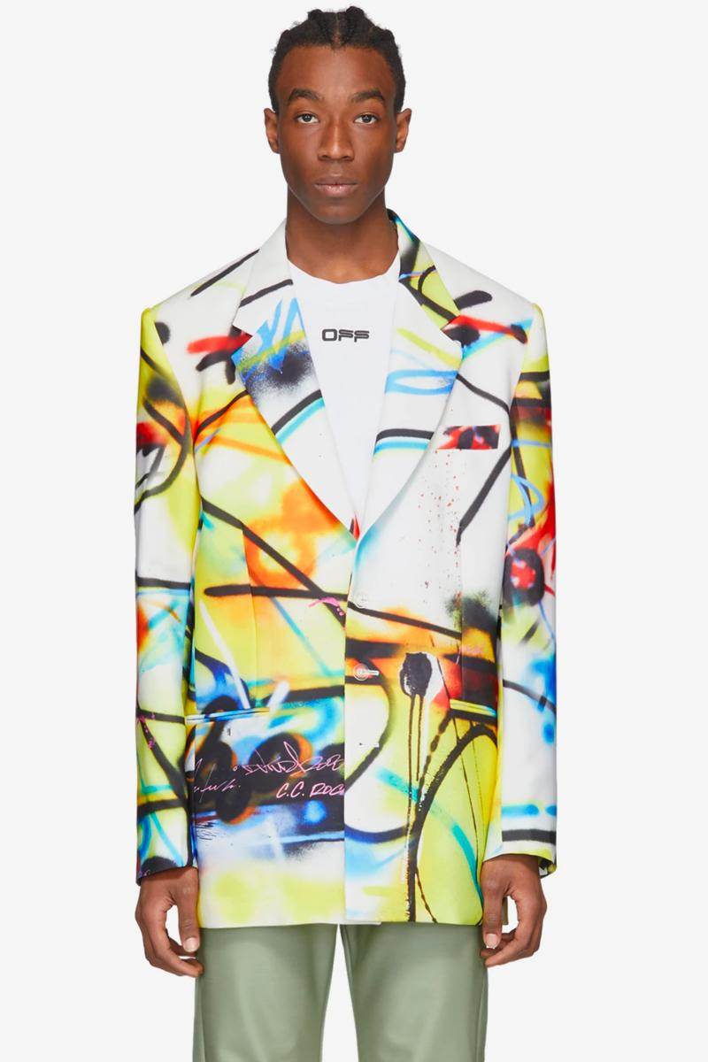Futura Off White Spray Paint Over Blazer abstract painterly new york city based artist virgil abloh garments sartorial bespoke classic retro vintage spring summer 2020 collection