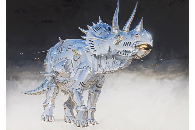 "Hajime Sorayama ""Sex Matter"" NANZUKA Exhibition Robots Paintings Dinosaurs ""Trex"" ""2G"" Studio Tyrannosaurus Stegosaurus Gold Silver"
