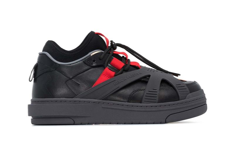 Heron Preston Black Protection Low Top Leather Sneakers release