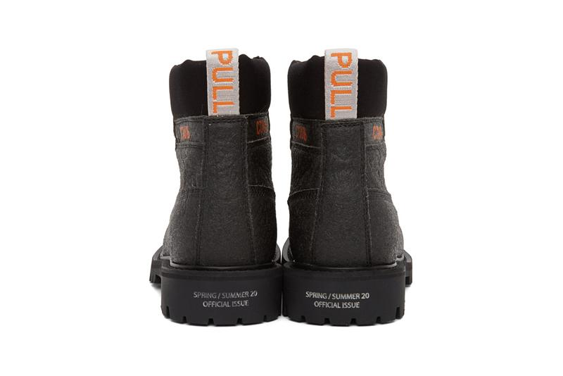 heron preston black recycled lh worker boots white reflective worker boots