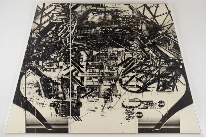 "Hiroki Tsukuda ""They Live"" Petzel Gallery Exhibition Charcoal Ink Wood Panel Dystopian World Fantasy Sci-Fi Drawings 'Neon Demon'"