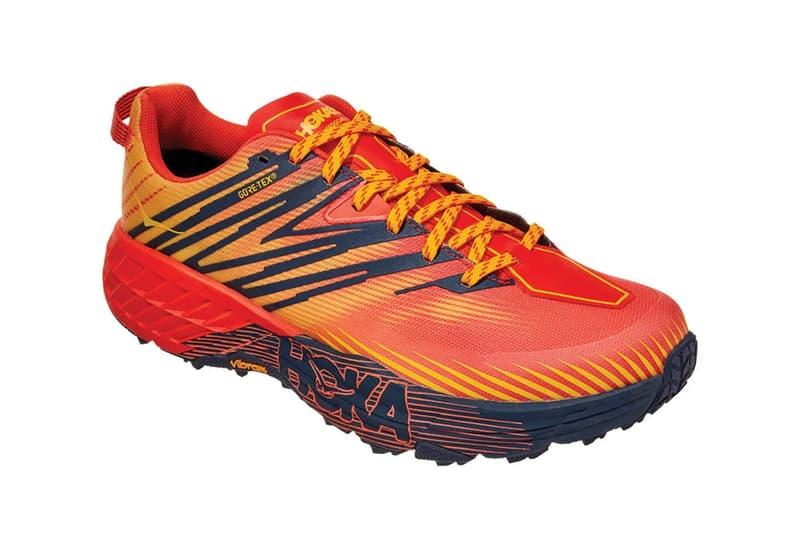 HOKA ONE ONE Speedgoat 4 GORE TEX Mandarin Red Gold Fusion TRAIL RUNNING WATERPROOF 1106530 Vibram Megagrip rubber outsole waterproof shoes footwear kicks trainers runners