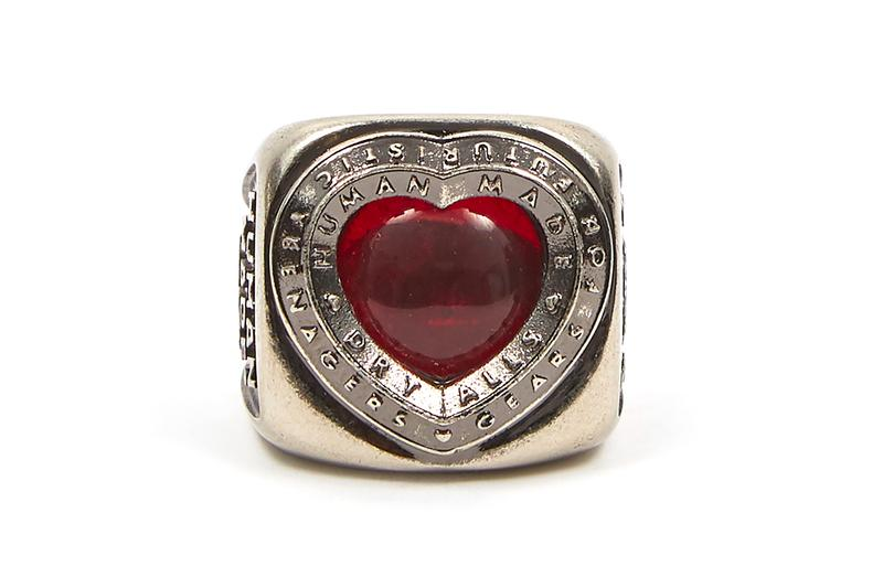 HUMAN MADE Brass Collegiate Heart Ring nigo pharrell fall winter 2020 collection accessories silver jewelry engraved ruby red 925 japanese designer tokyo gears for futuristic teenagers