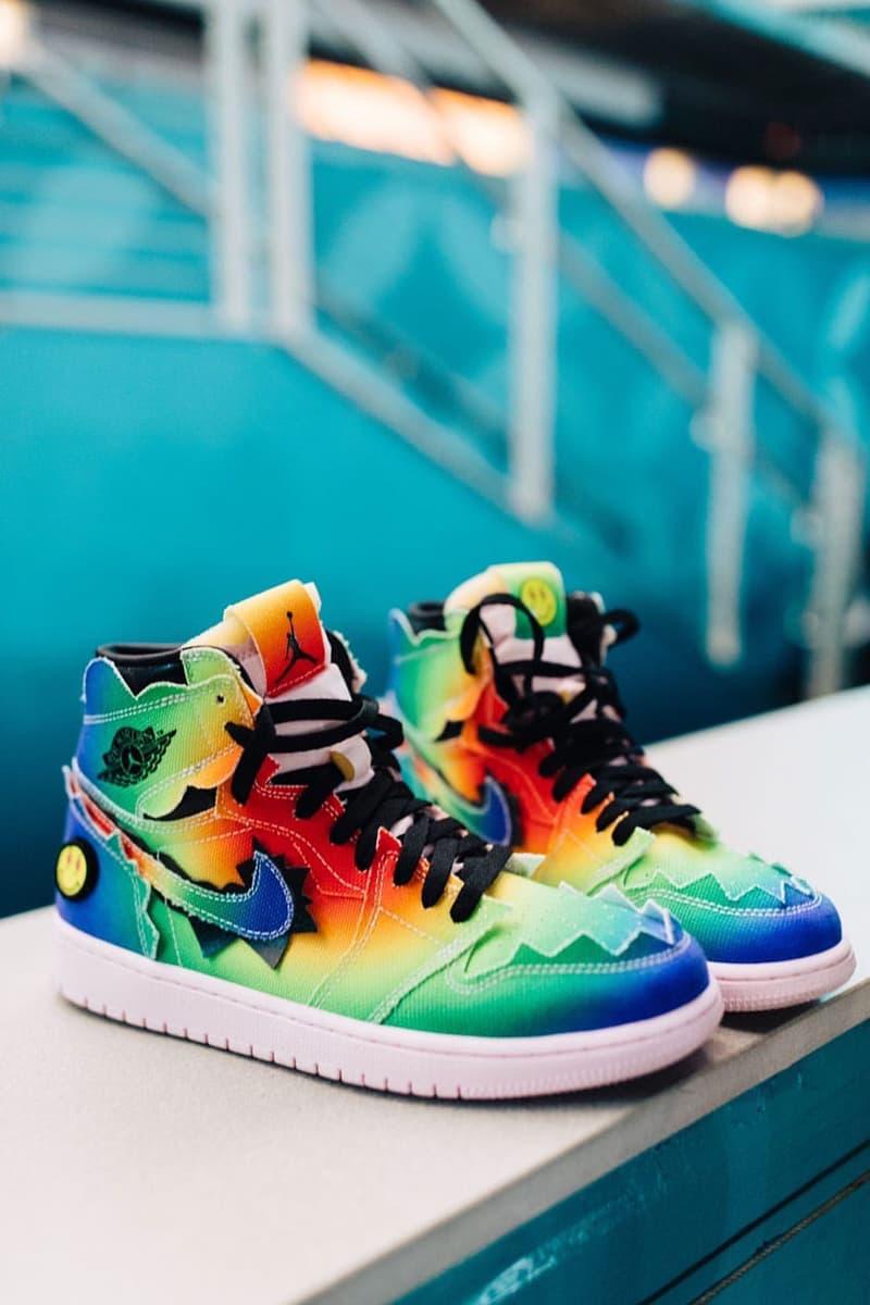 J Balvin Air Jordan 1 Collaboration Super Bowl sneaker design closer look detail shot photo picture rainbow colorway logo happy face
