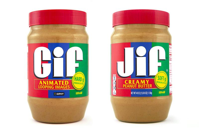 Jif & GIPHY Collaborate To Settle GIF/Jif Pronunciation Debate peanut butter jar buy now amazon j.m. smucker ebay resell