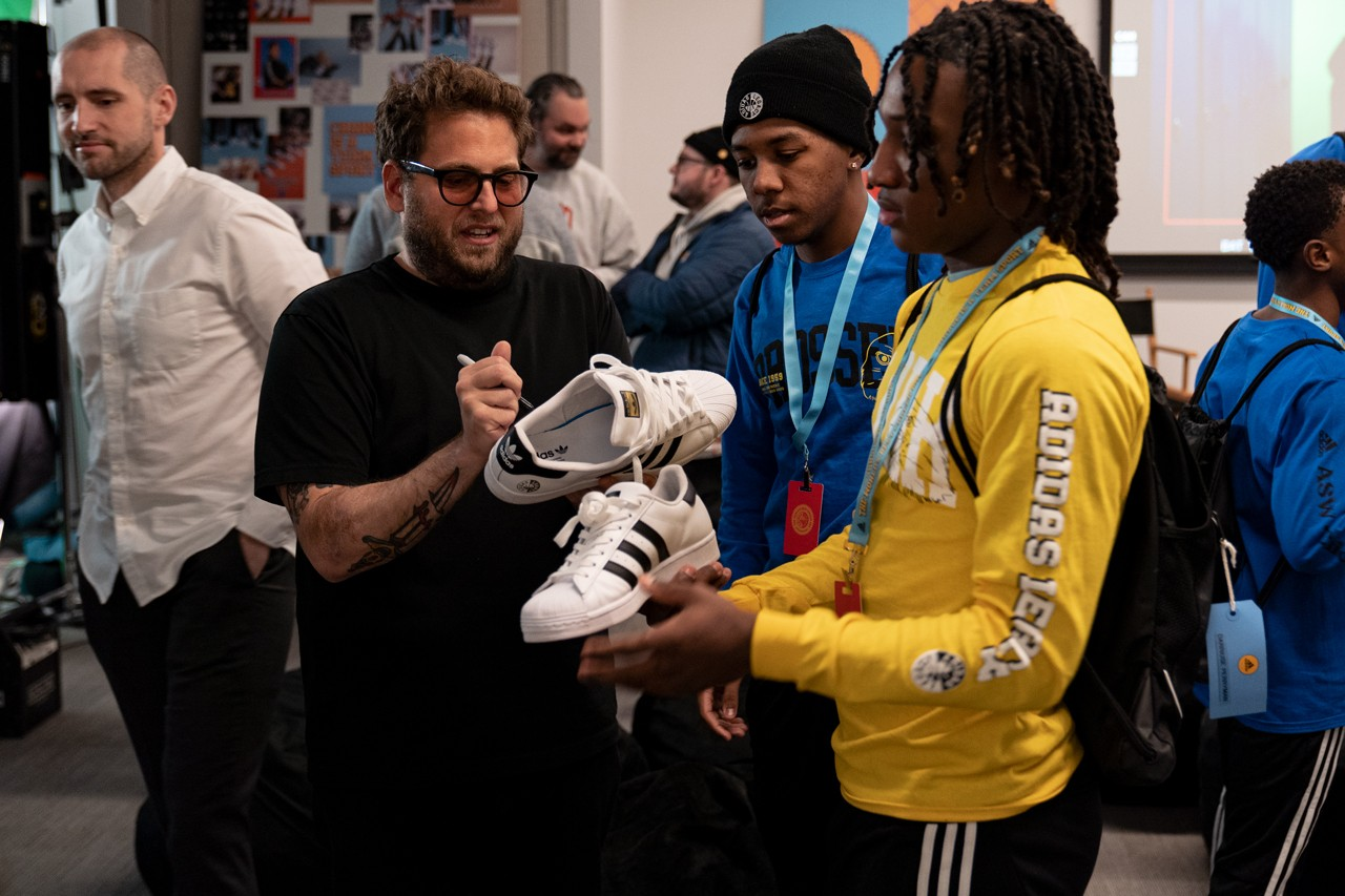 Jonah Hill Interview adidas Partnership collaboration sneakers Fashion street style Mentoring legacy program worlds best career day chicago nba all star weekend game 2020 basketball palace lev tanju mike lottie lotties throwing fits mid90s Chris Blauvelt change is a team sport