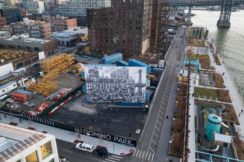 jr chronicles of new york mural domino park stacked shipping containers