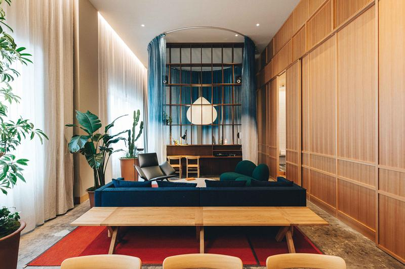 K5 Hotel Tokyo Claesson Koivisto Rune Former Bank Plants Wood Paper Lamps Maruni Emeco Furniture Red Couch Curtains Restaurant