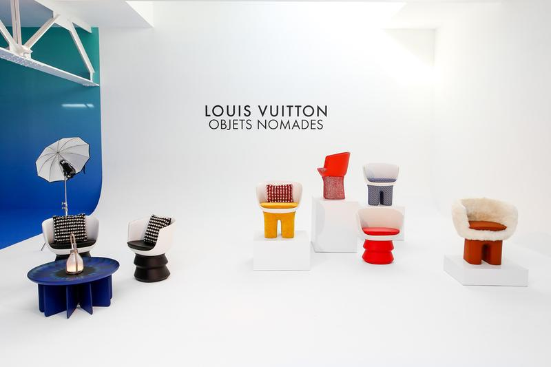 Louis Vuitton Objets Nomades Collection Frieze LA Chairs Couches Shelves Lamps Trunks Bomboca Sofa Campana Brothers Furniture Mirrors