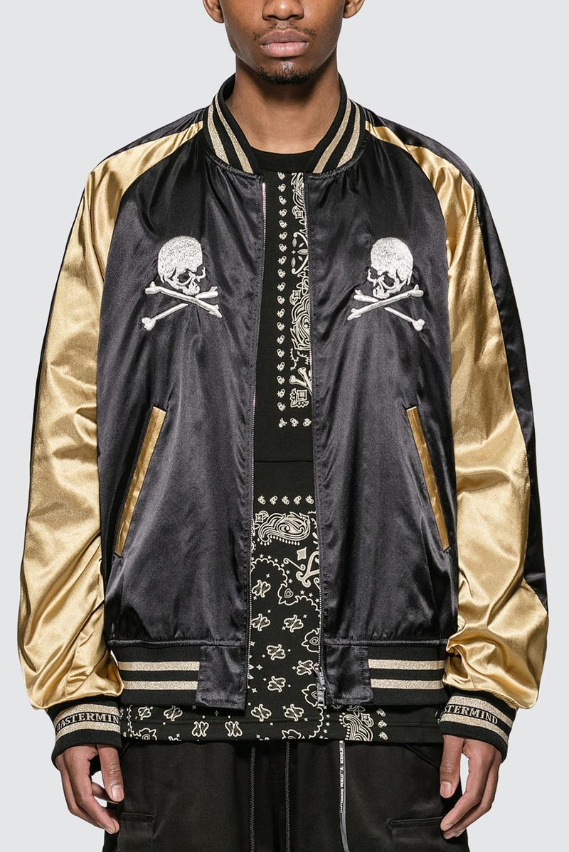 mastermind WORLD Black/Gold Skull Souvenir Jacket Japan Gang Hawaii Style