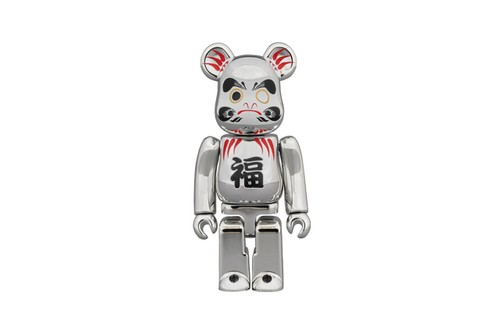 Medicom Toy Drops Glistening Silver Plated Daruma BE@RBRICK