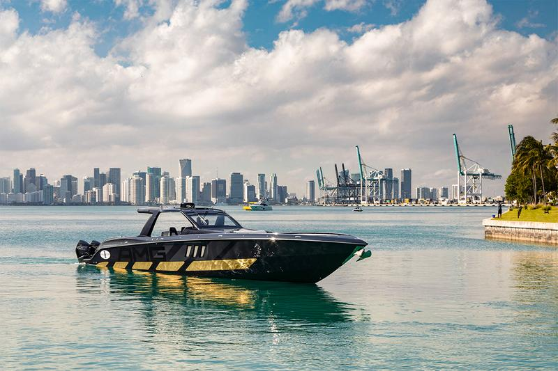 mercedes amg cigarette racing miami international boat show speedboat g63 wagon suv