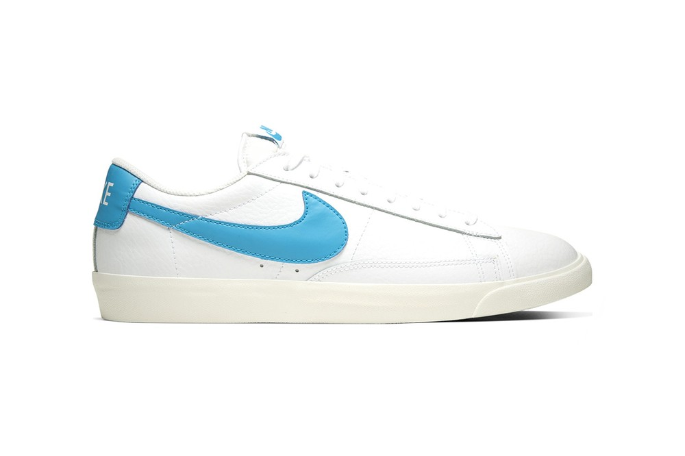 """Nike Blazer Low Leather Drops in Four Bold Colorways """"WHITE/VOLTAGE PURPLE-SAIL"""" """"WHITE/LASER BLUE-SAIL"""" """"WHITE/GREEN SPARK-SAIL"""" WHITE/BLACK-SAIL"""" Premium Materials Release Information Sneakers Footwear Swoosh Brand Vintage Retro"""
