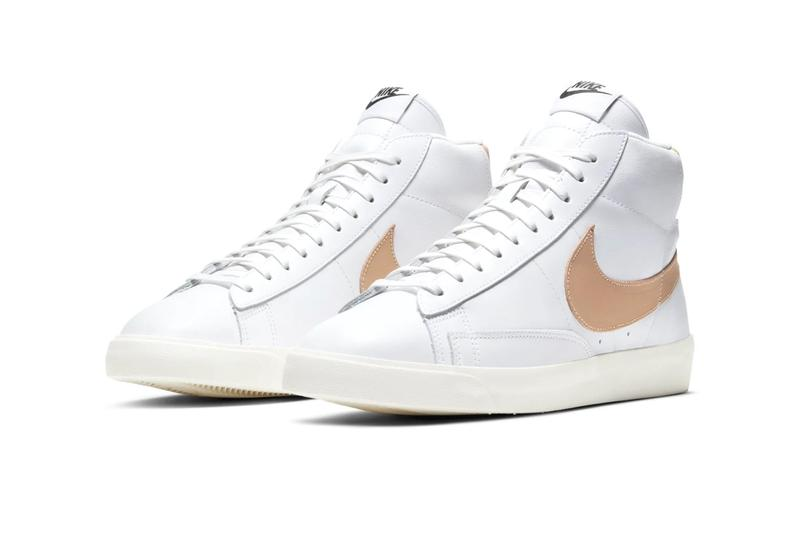Nike Blazer Mid Light Patina Dark Patina shoes sneakers footwear kicks menswear runners trainers spring summer 2020 collection basketball swoosh beige tonal cushioning check