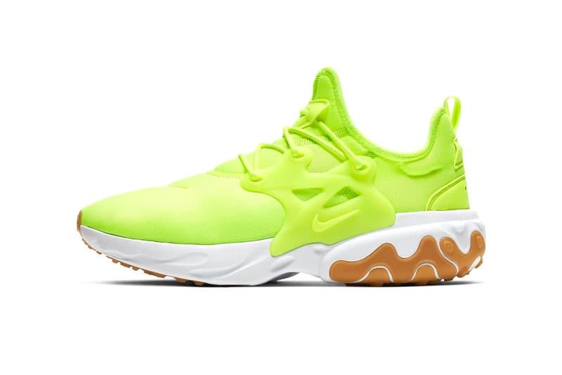 nike react presto volt colorway release sneakers shoes AV2605-702 neon running winter summer heat