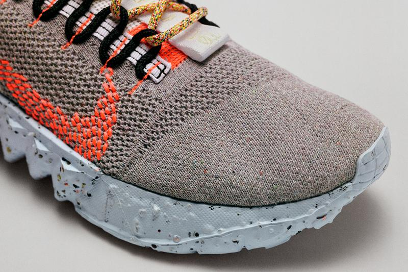 nike space hippie collection 1 2 3 4 factory floor carbon footprint sustainable crater foam release date info photos price rPoly crater foam grind rubber