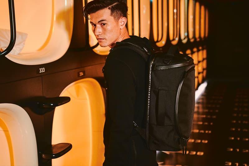 nine hours Aer Capsule Collection Release Backpack Bag Hotel Black Grey 35 40 L Pack