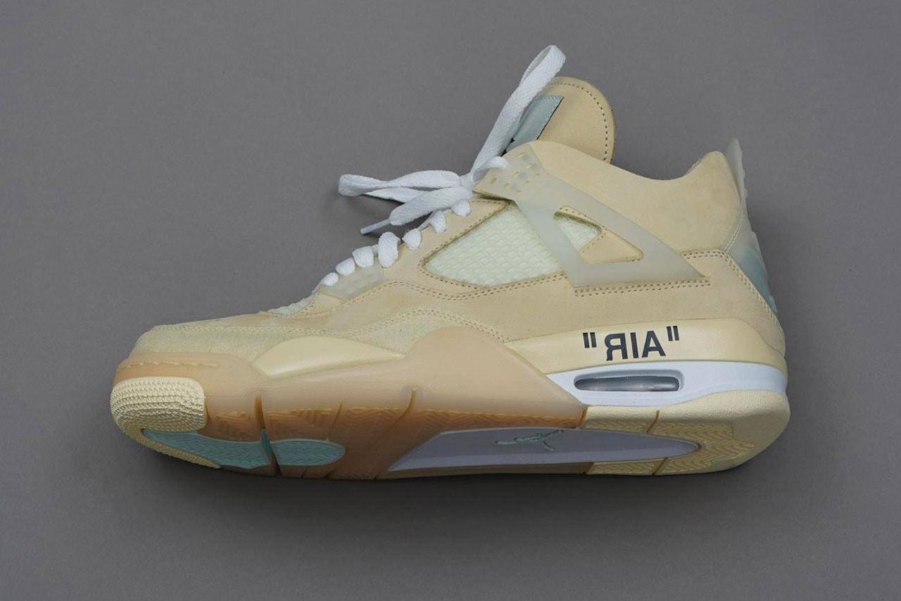 Off-White™ x Air Jordan 4 Collaboration Sneaker On-Feet detailed shot closer look photograph pfw paris fashion week fw20 2020 fall winter virgil abloh