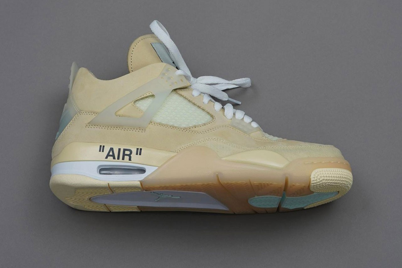 Off-White™ x Air Jordan 4 Collaboration Sneaker On-Feet detailed shot closer look photograph pfw paris fashion week fw20 2020 fall winter virgil abloh womenswear