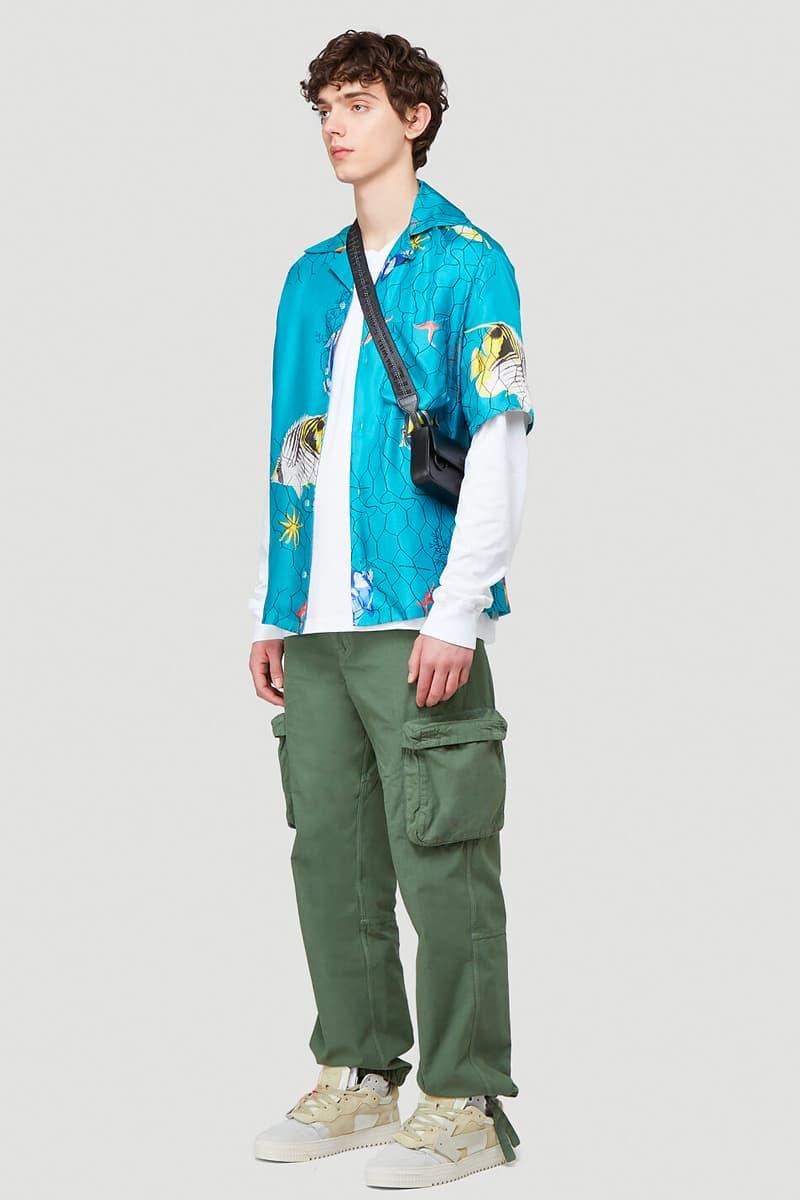 Off White Fishnet Silk Shirt Release Info Buy Price Blue LN-CC
