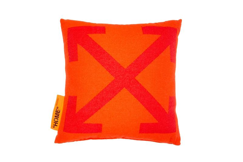 Off-White™ Introduces Orange ARROWS PILLOW logo throw tonal hang tag quotation marks collection virgil abloh