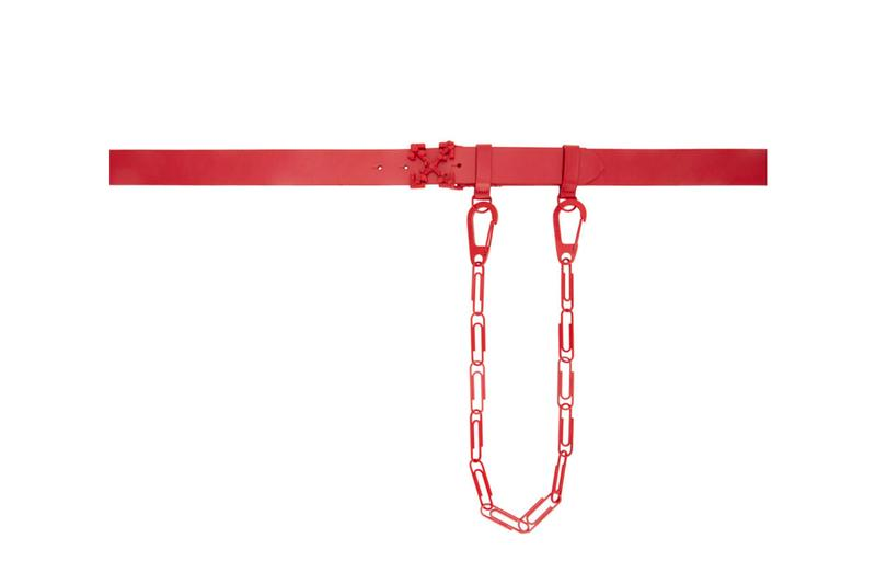Off White Red Leather Chain Belt Release Info Buy Price SSENSE Virgil Abloh
