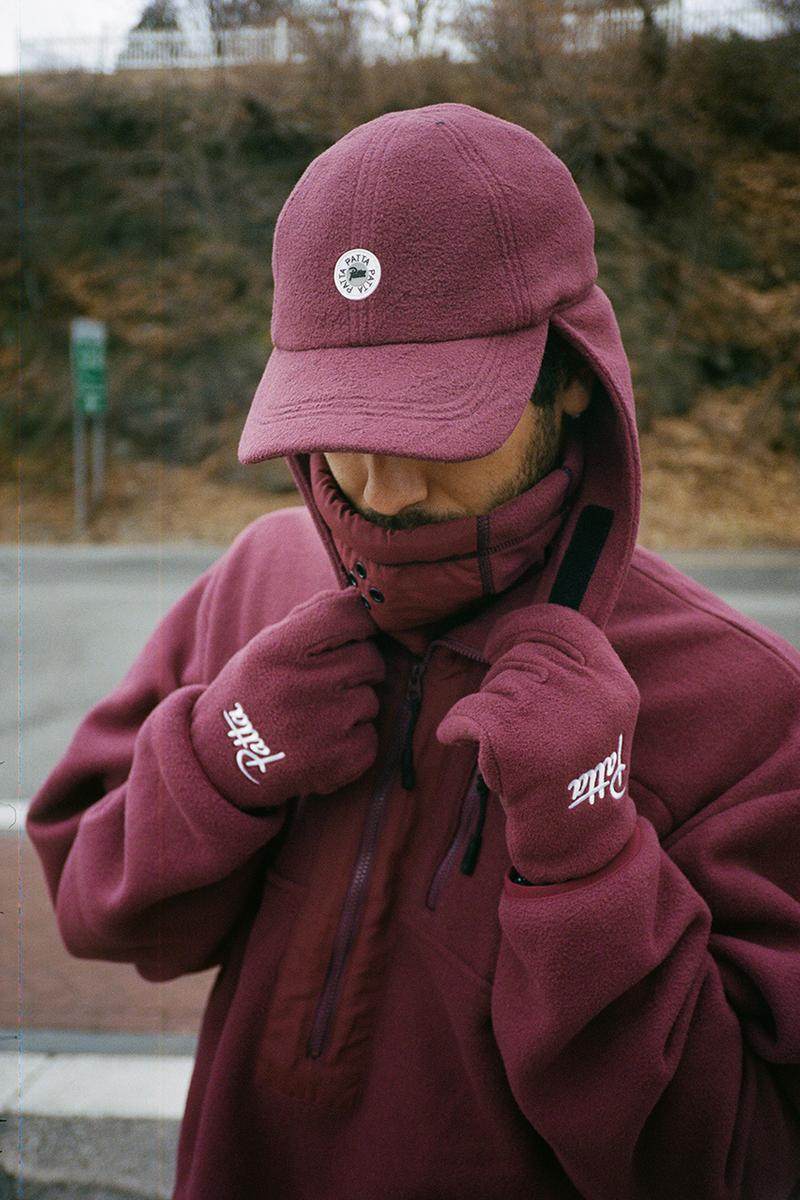 "Patta Polartec Collection Lookbook & Release Information First Look Drop Date February 14 Valentine's Day Fleece Track Suit Bucket Hat Flap Cap Gloves Neck Gaiter ""Port Royal/Eggplant"" Black"