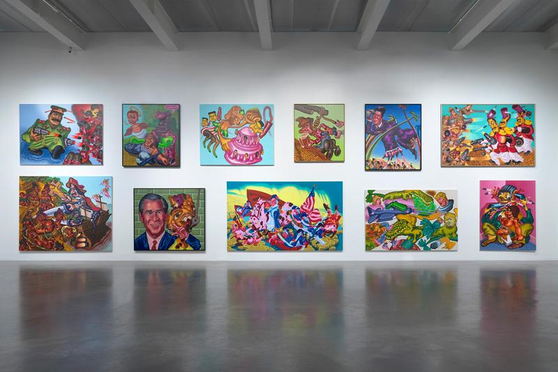 "Peter Saul ""Crime and Punishment"" Exhibition New Museum Paintings Surreal Pop Art Presidents Trump Ronald Reagan"