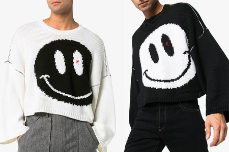 Raf Simons Unveils Monochromatic Smiley Intarsia Knit Sweaters