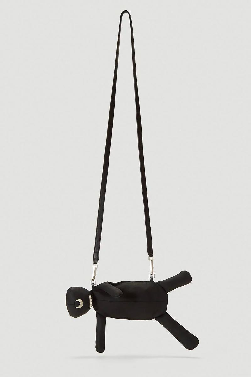 Rick Owens Hun Cyclop Bag Black leather made in italy satin silver hardware menswear streetwear spring summer 2020 collection plush toy pouch figure collectible novetly crossbody