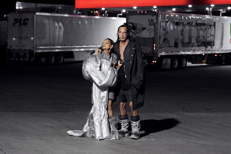 rick owens moncler collaboration custom tour bus exclusive fashion capsule michele lamy duvet inspiration
