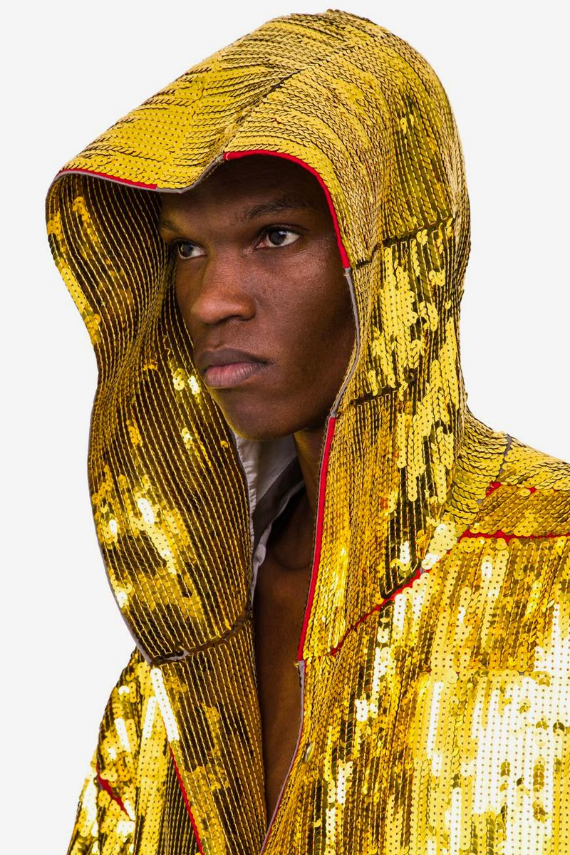 Rick Owens Beach Parka Gold Sequin spring summer 2020 collection TECUATL jackets oversized drape boxer robe boxy outerwear shiny metallic off the runway yellow cotton embroidered