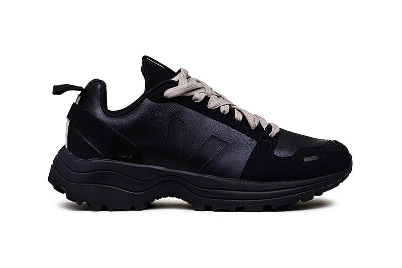 Rick Owens Veja Sustainable Footwear Styles wool knit runner hiking inspired silhouette sneakers recycled plastic amazon rubber fair trade brand collaboration runway