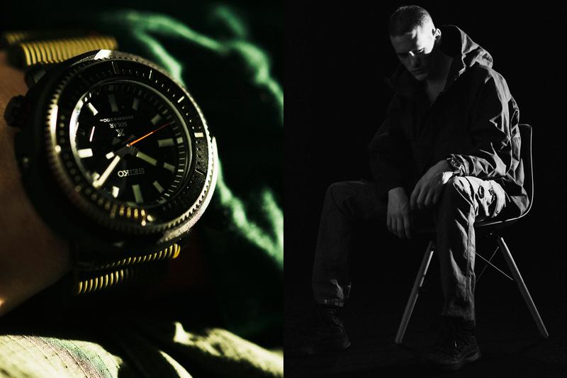 """Seiko Prospex Street Series Collection """"TUNA-CAN"""" exterior case MA-1 jacket divers series water resistance 200m SNE 547P1 and SNE 545P1 stillness motion time"""